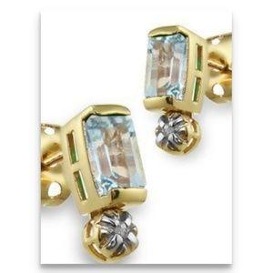 Swiss blue topaz diamond earrings